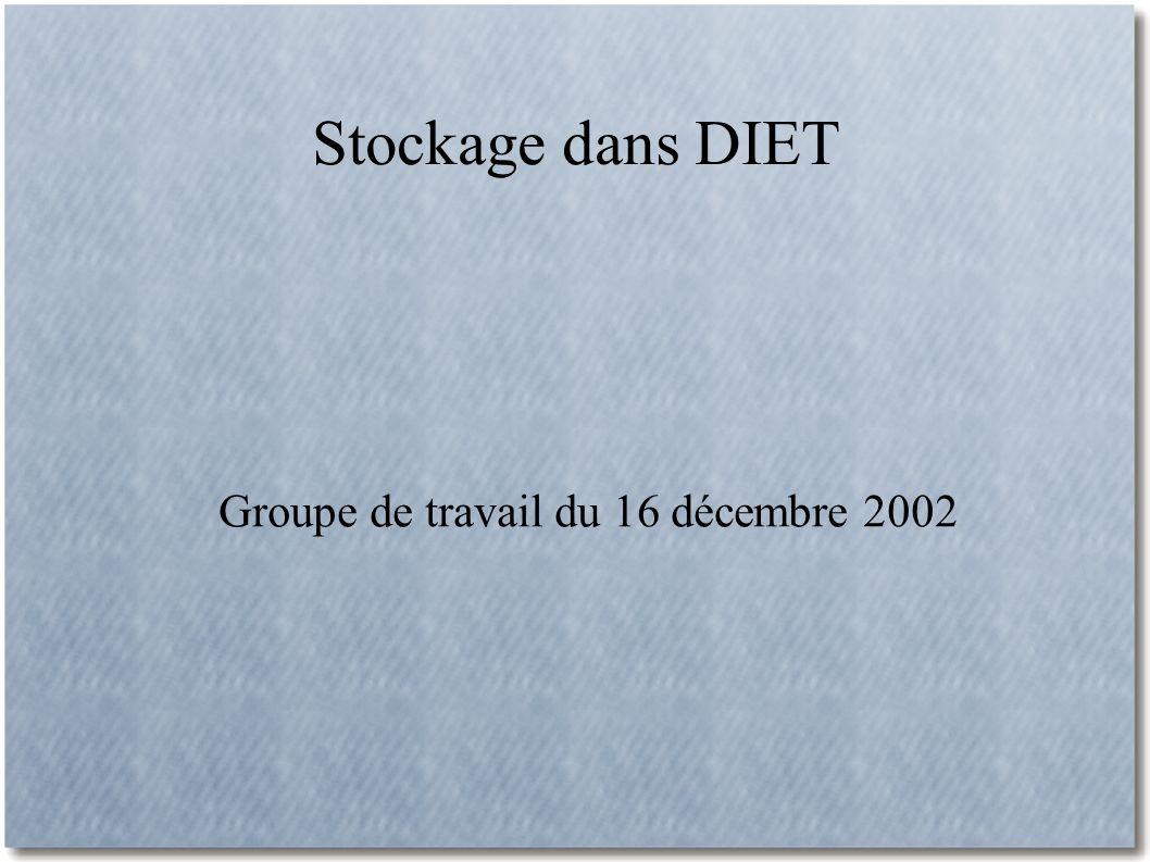 Stockage dans DIET Groupe de travail du 16 décembre 2002