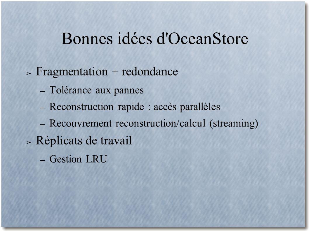 Bonnes idées d OceanStore Fragmentation + redondance – Tolérance aux pannes – Reconstruction rapide : accès parallèles – Recouvrement reconstruction/calcul (streaming) Réplicats de travail – Gestion LRU