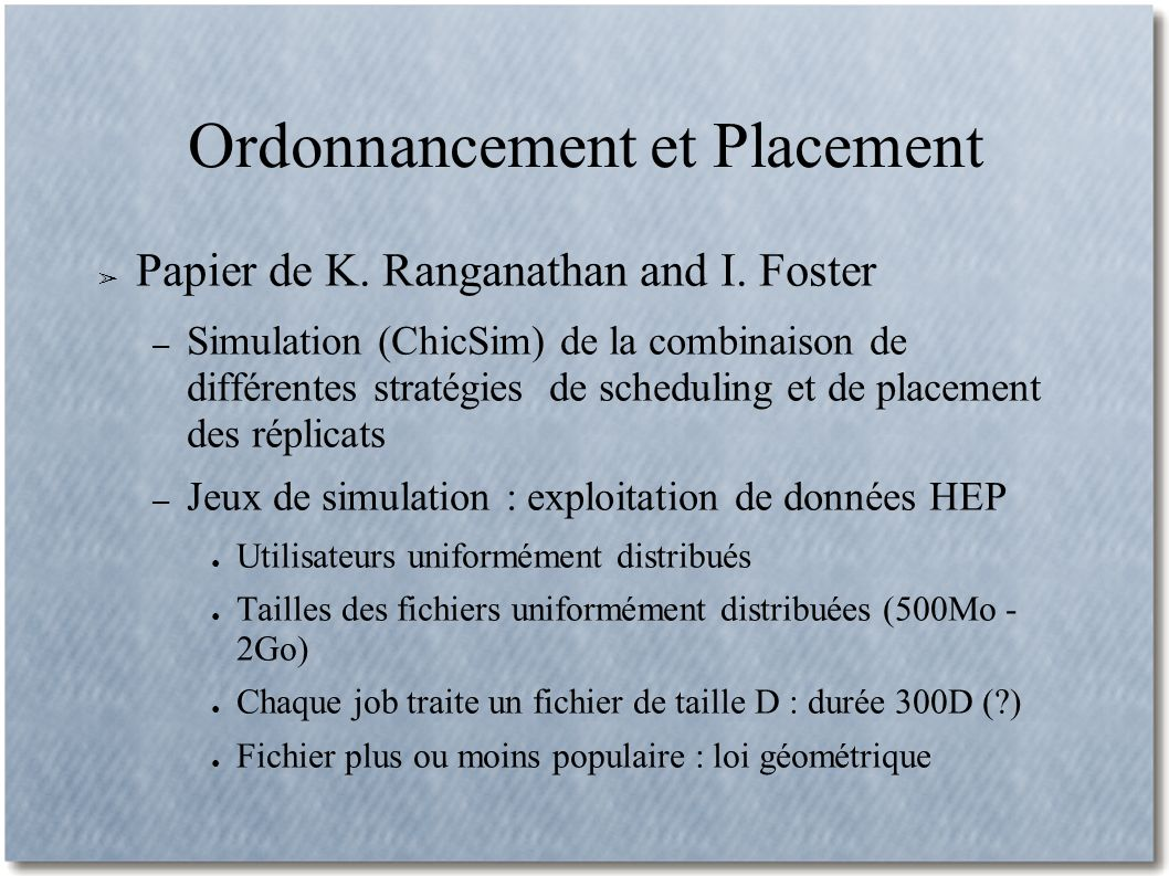 Ordonnancement et Placement Papier de K. Ranganathan and I.