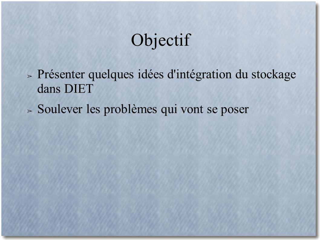 Objectif Présenter quelques idées d intégration du stockage dans DIET Soulever les problèmes qui vont se poser