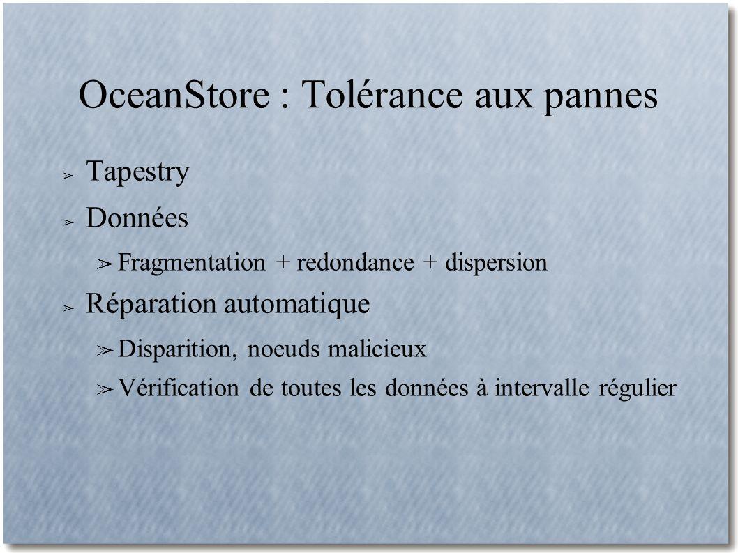 OceanStore : Tolérance aux pannes Tapestry Données Fragmentation + redondance + dispersion Réparation automatique Disparition, noeuds malicieux Vérification de toutes les données à intervalle régulier
