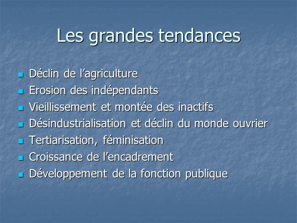Les grandes tendances Déclin de lagriculture Déclin de lagriculture Erosion des indépendants Erosion des indépendants Vieillissement et montée des ina