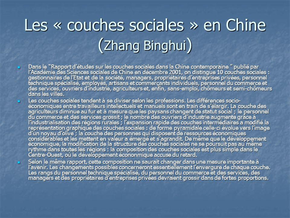 Les « couches sociales » en Chine ( Zhang Binghui ) Dans le Rapport détudes sur les couches sociales dans la Chine contemporaine publié par lAcadémie