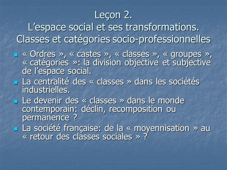 Leçon 2. Lespace social et ses transformations. Classes et catégories socio-professionnelles « Ordres », « castes », « classes », « groupes », « catég