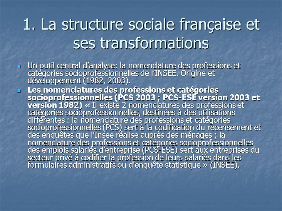 1. La structure sociale française et ses transformations Un outil central danalyse: la nomenclature des professions et catégories socioprofessionnelle