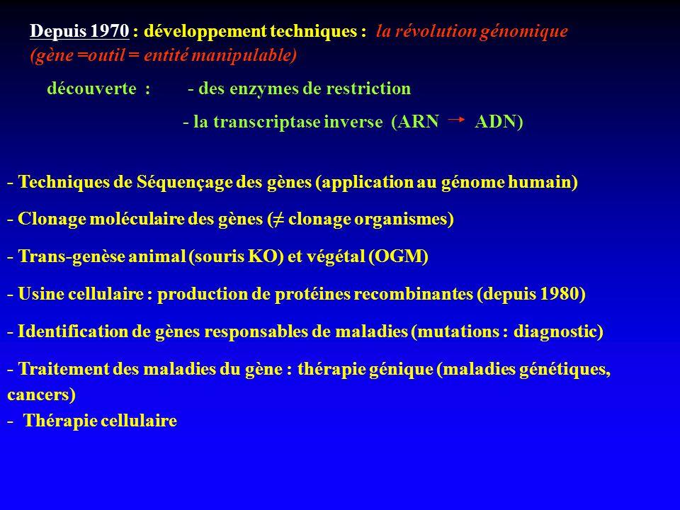 - Techniques de Séquençage des gènes (application au génome humain) - Clonage moléculaire des gènes ( clonage organismes) - Trans-genèse animal (souri