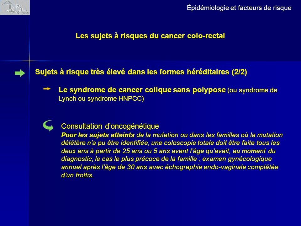 Épidémiologie et facteurs de risque Le syndrome de cancer colique sans polypose (ou syndrome de Lynch ou syndrome HNPCC) Consultation doncogénétique P