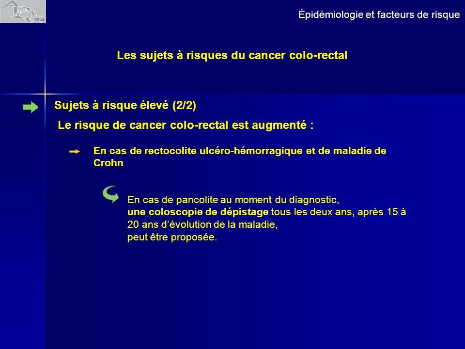 Épidémiologie et facteurs de risque Les sujets à risques du cancer colo-rectal Sujets à risque élevé (2/2) Le risque de cancer colo-rectal est augment