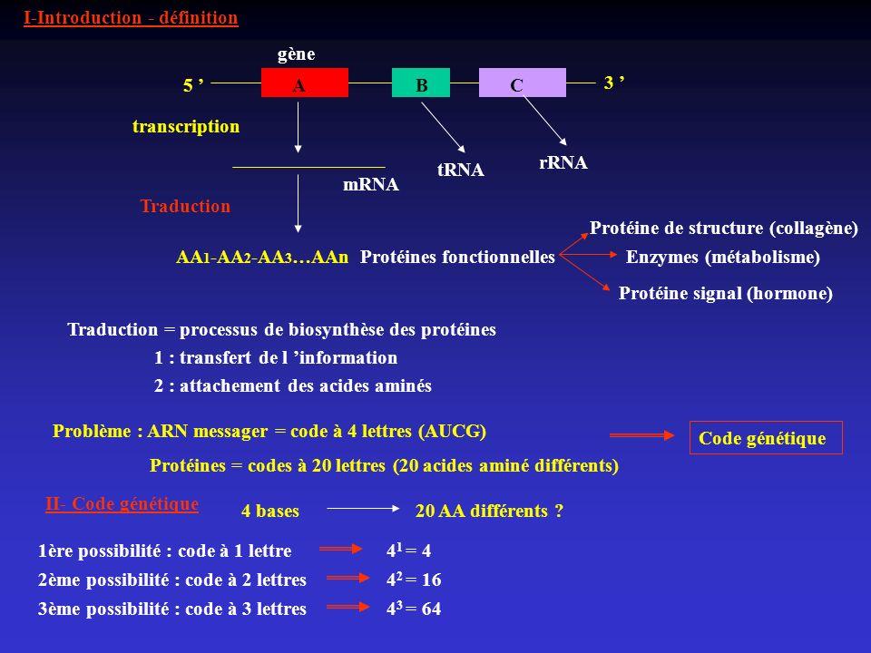 I-Introduction - définition 5 ABC mRNA Protéines fonctionnelles 3 gène transcription AA 1 -AA 2 -AA 3 …AAn Traduction Protéine de structure (collagène