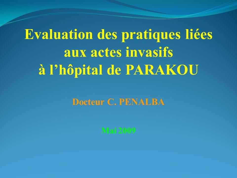 Evaluation des pratiques liées aux actes invasifs à lhôpital de PARAKOU Docteur C. PENALBA Mai 2009