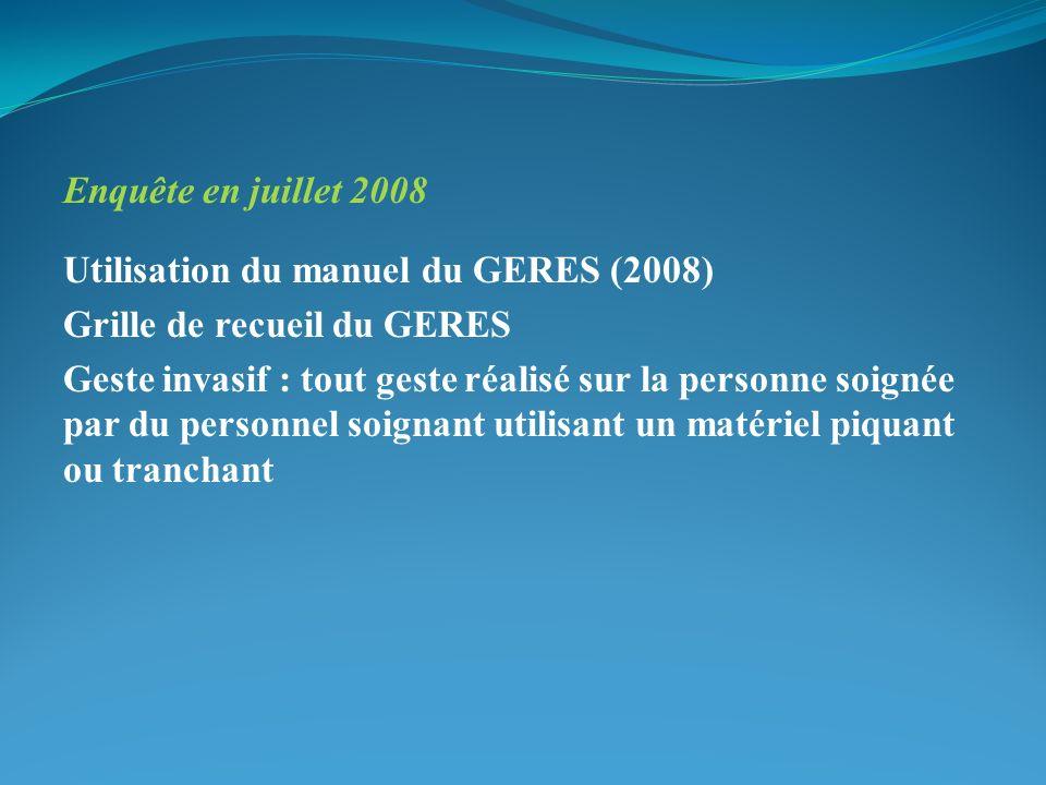 Enquête en juillet 2008 Utilisation du manuel du GERES (2008) Grille de recueil du GERES Geste invasif : tout geste réalisé sur la personne soignée pa