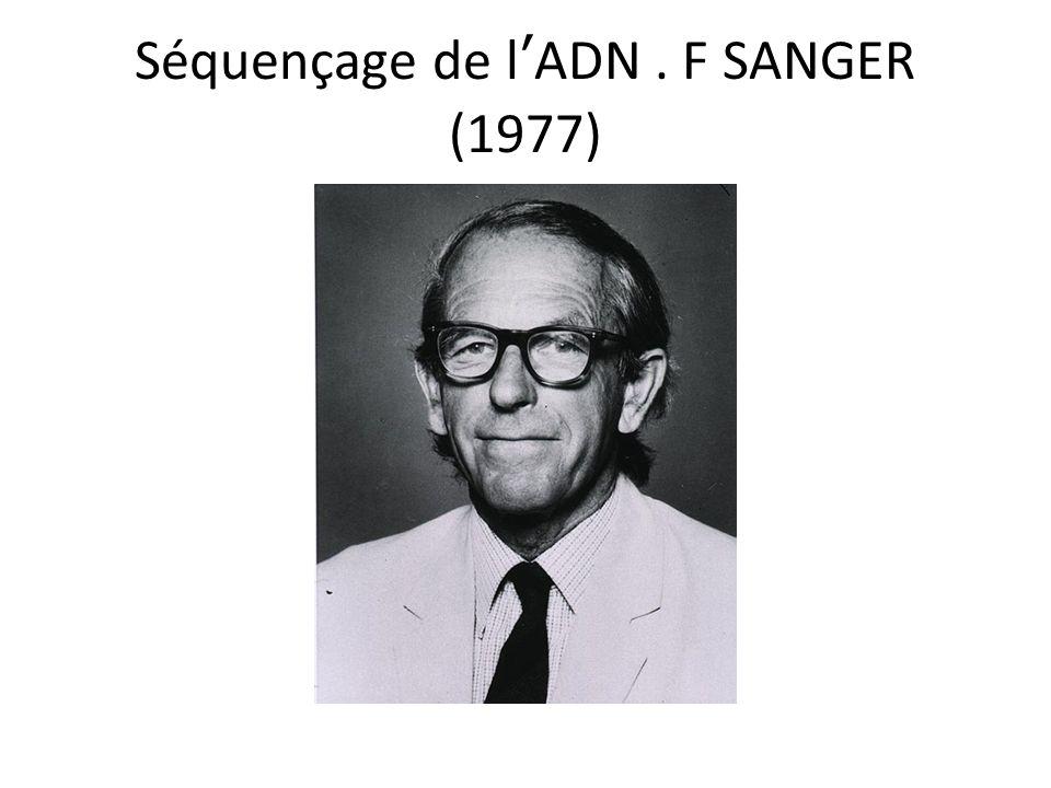 Séquençage de lADN. F SANGER (1977)