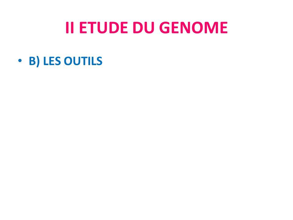 II ETUDE DU GENOME B) LES OUTILS
