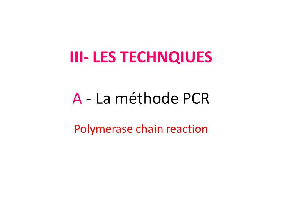 III- LES TECHNQIUES A - La méthode PCR Polymerase chain reaction