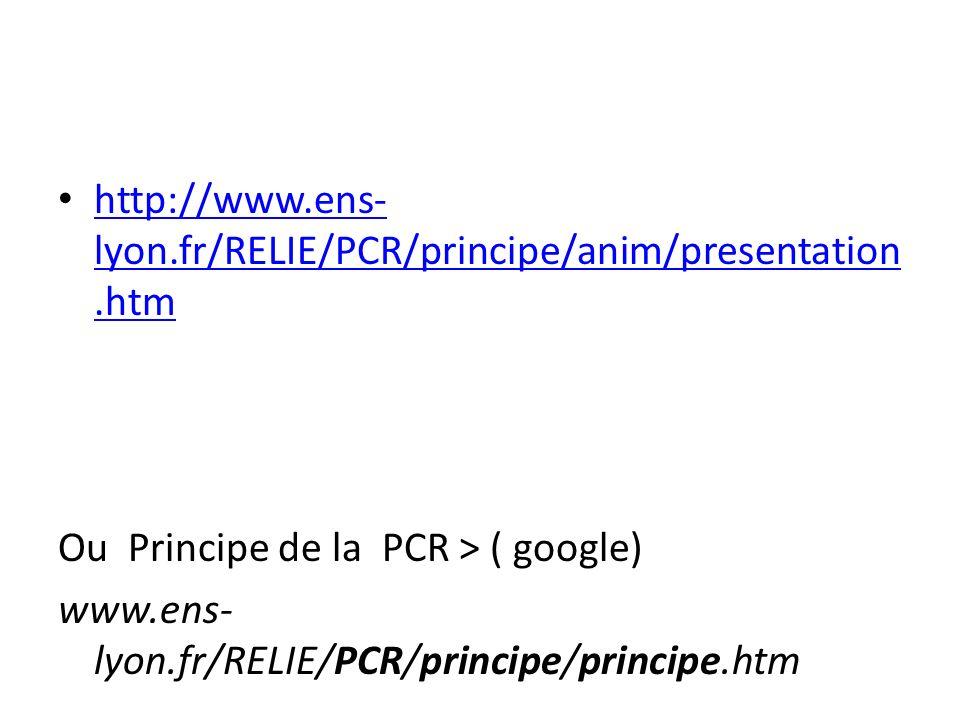 http://www.ens- lyon.fr/RELIE/PCR/principe/anim/presentation.htm http://www.ens- lyon.fr/RELIE/PCR/principe/anim/presentation.htm Ou Principe de la PC