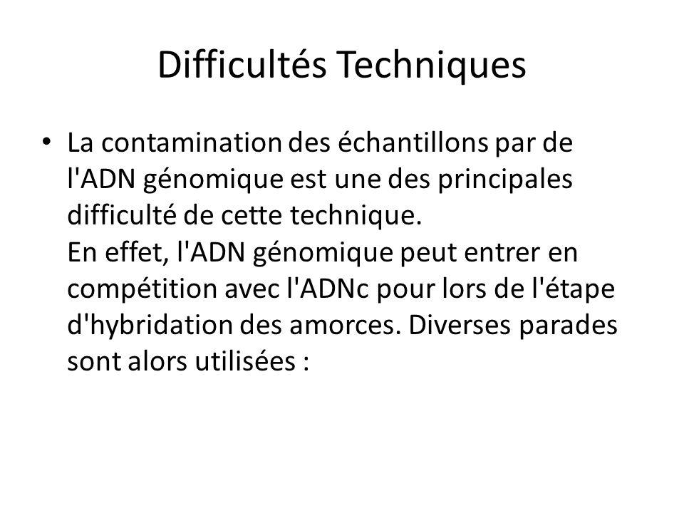 Difficultés Techniques La contamination des échantillons par de l'ADN génomique est une des principales difficulté de cette technique. En effet, l'ADN