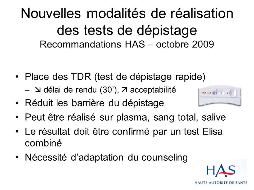 Nouvelles modalités de réalisation des tests de dépistage Recommandations HAS – octobre 2009 Place des TDR (test de dépistage rapide) – délai de rendu