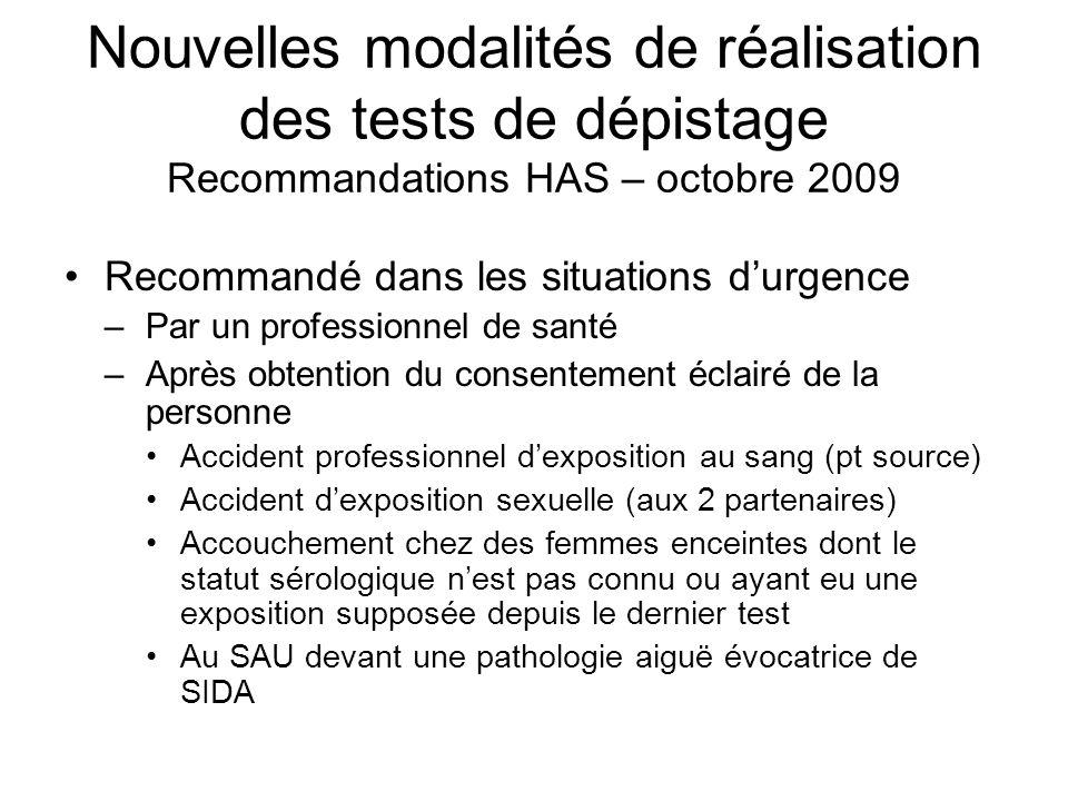 Nouvelles modalités de réalisation des tests de dépistage Recommandations HAS – octobre 2009 Recommandé dans les situations durgence –Par un professio
