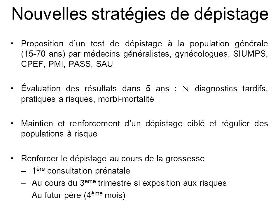 Nouvelles stratégies de dépistage Proposition dun test de dépistage à la population générale (15-70 ans) par médecins généralistes, gynécologues, SIUM