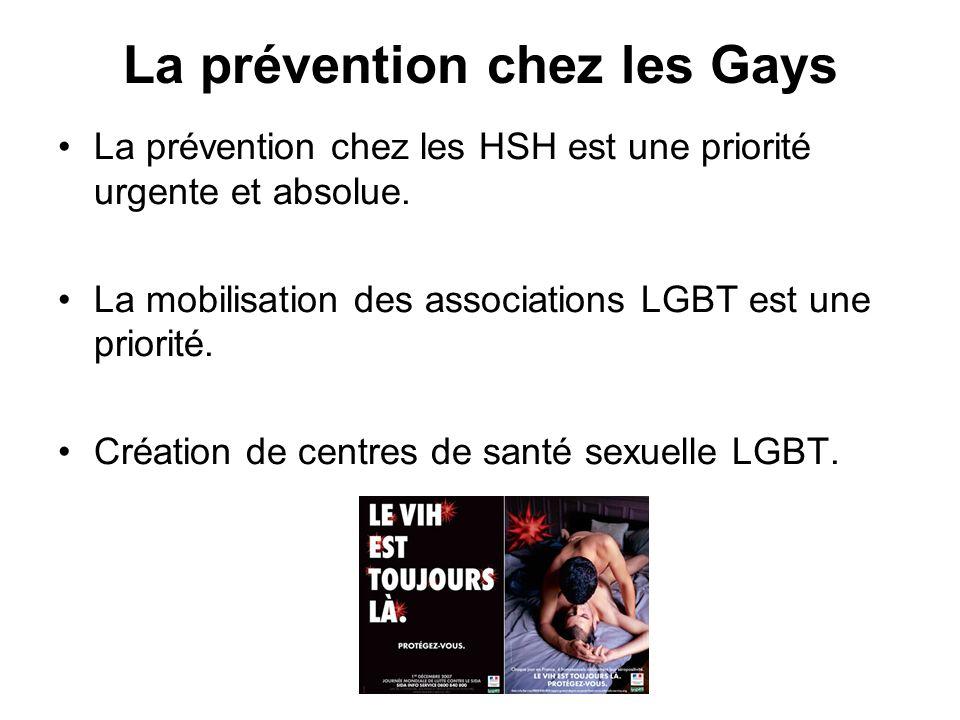 La prévention chez les Gays La prévention chez les HSH est une priorité urgente et absolue. La mobilisation des associations LGBT est une priorité. Cr
