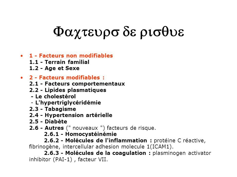 1 - Facteurs non modifiables 1.1 - Terrain familial 1.2 - Age et Sexe 2 - Facteurs modifiables : 2.1 - Facteurs comportementaux 2.2 - Lipides plasmati