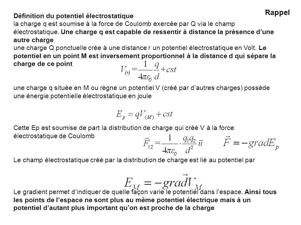 Définition du potentiel électrostatique la charge q est soumise à la force de Coulomb exercée par Q via le champ électrostatique. Une charge q est cap