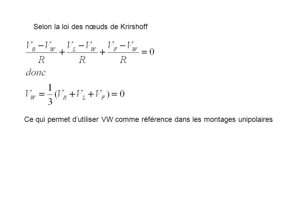 Selon la loi des nœuds de Krirshoff Ce qui permet dutiliser VW comme référence dans les montages unipolaires
