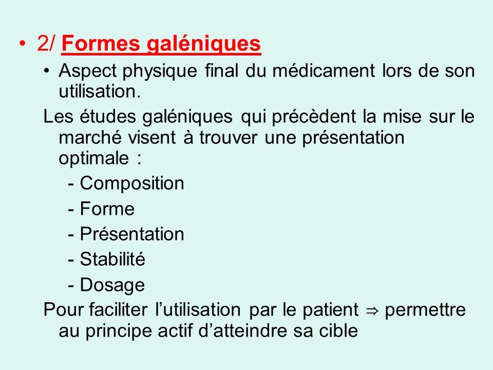 2/ Formes galéniques Aspect physique final du médicament lors de son utilisation. Les études galéniques qui précèdent la mise sur le marché visent à t