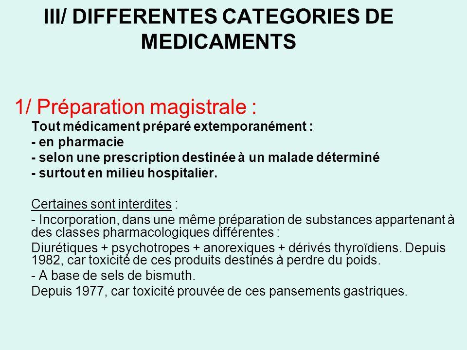III/ DIFFERENTES CATEGORIES DE MEDICAMENTS 1/ Préparation magistrale : Tout médicament préparé extemporanément : - en pharmacie - selon une prescripti