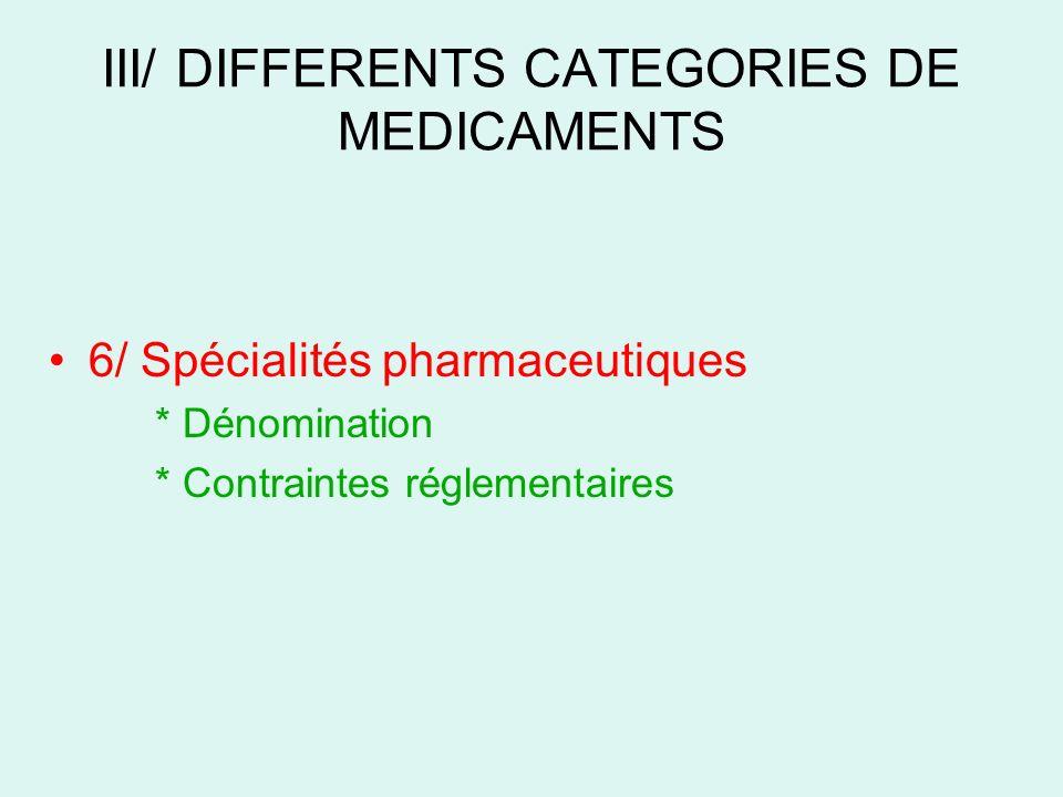 III/ DIFFERENTS CATEGORIES DE MEDICAMENTS 6/ Spécialités pharmaceutiques * Dénomination * Contraintes réglementaires