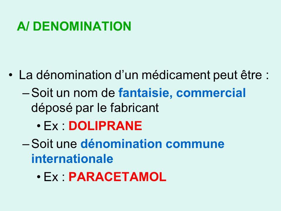 A/ DENOMINATION La dénomination dun médicament peut être : –Soit un nom de fantaisie, commercial déposé par le fabricant Ex : DOLIPRANE –Soit une déno