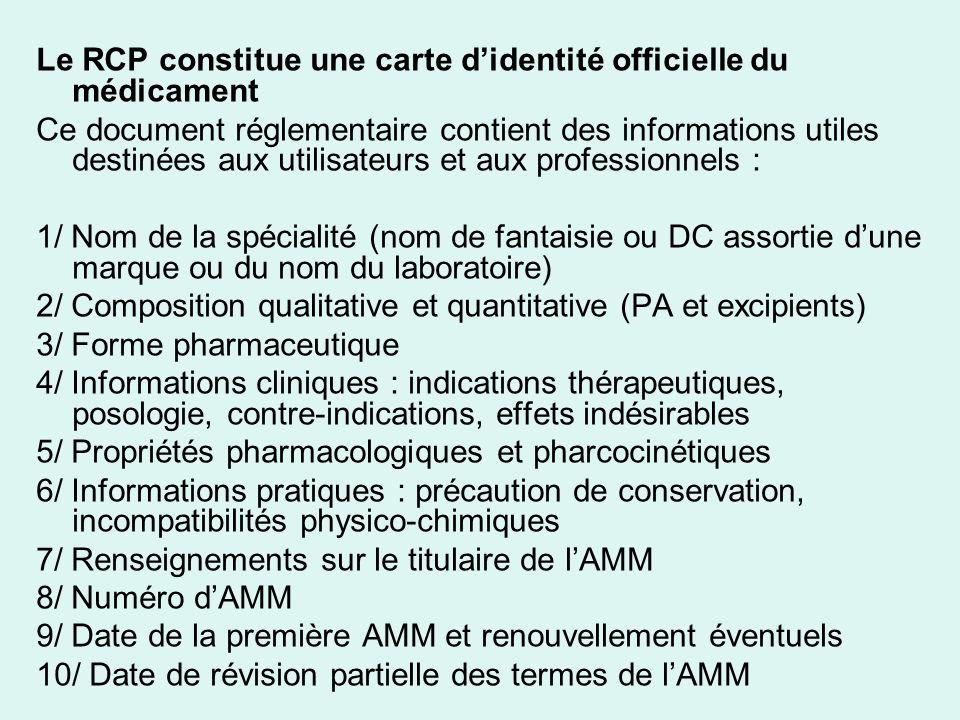 Le RCP constitue une carte didentité officielle du médicament Ce document réglementaire contient des informations utiles destinées aux utilisateurs et