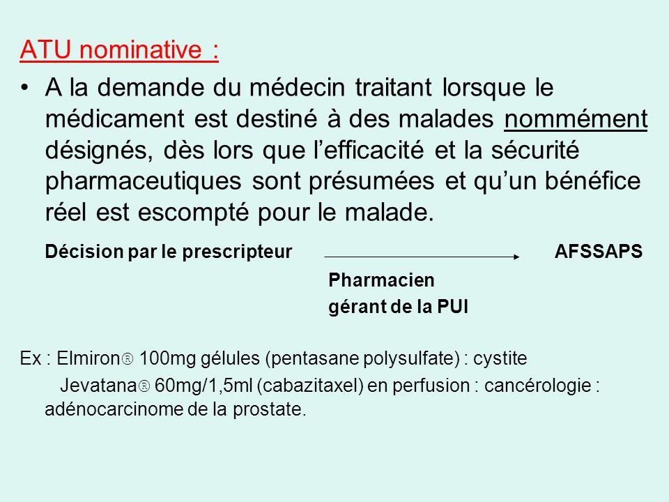 ATU nominative : A la demande du médecin traitant lorsque le médicament est destiné à des malades nommément désignés, dès lors que lefficacité et la s