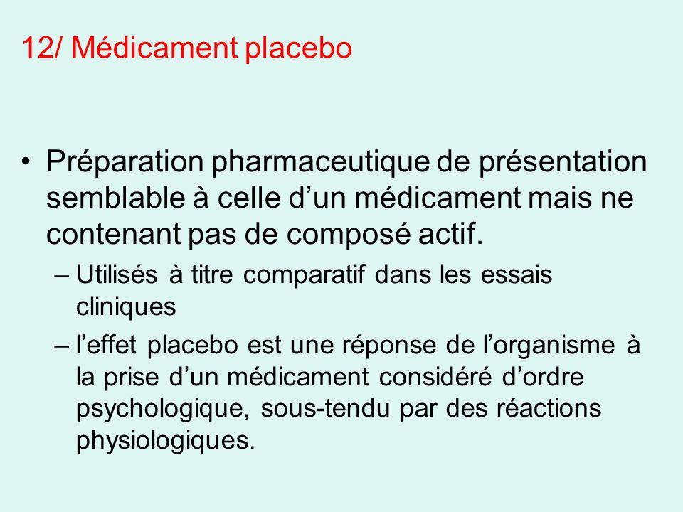 Préparation pharmaceutique de présentation semblable à celle dun médicament mais ne contenant pas de composé actif. –Utilisés à titre comparatif dans
