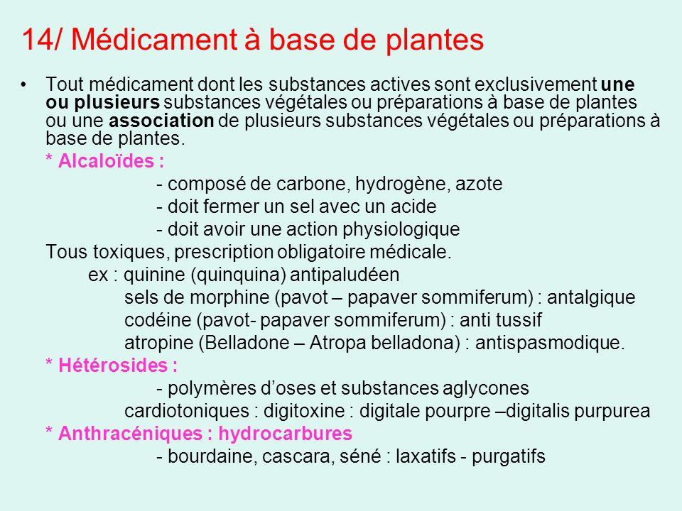 Tout médicament dont les substances actives sont exclusivement une ou plusieurs substances végétales ou préparations à base de plantes ou une associat