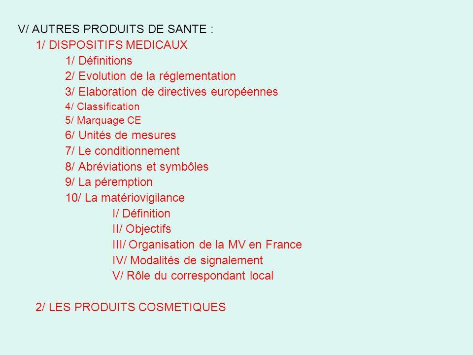 V/ AUTRES PRODUITS DE SANTE : 1/ DISPOSITIFS MEDICAUX 1/ Définitions 2/ Evolution de la réglementation 3/ Elaboration de directives européennes 4/ Cla