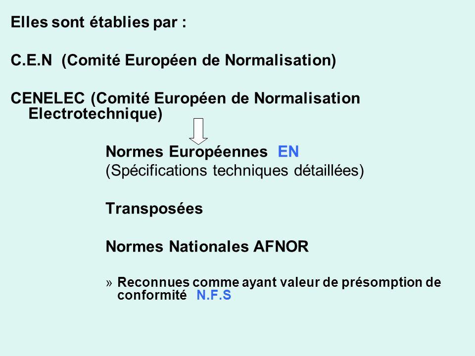 Elles sont établies par : C.E.N (Comité Européen de Normalisation) CENELEC (Comité Européen de Normalisation Electrotechnique) Normes Européennes EN (