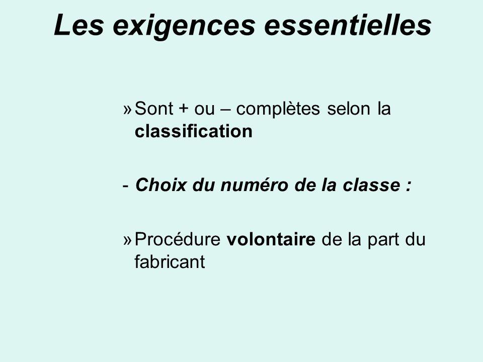 Les exigences essentielles »Sont + ou – complètes selon la classification -Choix du numéro de la classe : »Procédure volontaire de la part du fabrican