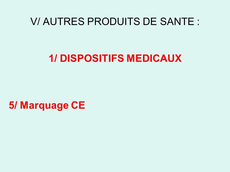 V/ AUTRES PRODUITS DE SANTE : 1/ DISPOSITIFS MEDICAUX 5/ Marquage CE