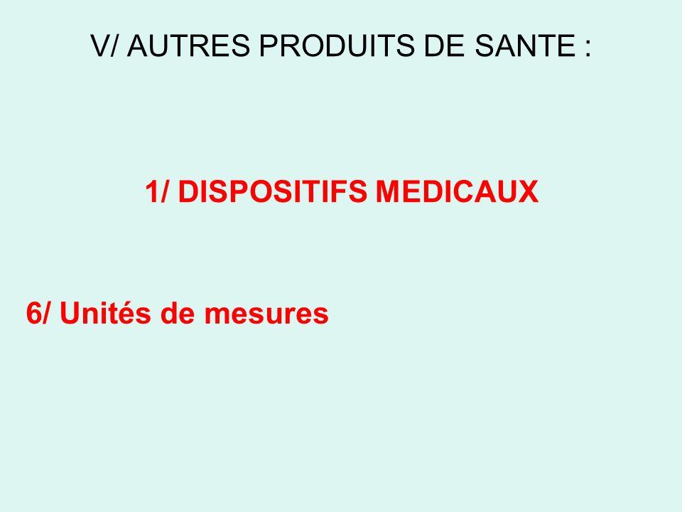 V/ AUTRES PRODUITS DE SANTE : 1/ DISPOSITIFS MEDICAUX 6/ Unités de mesures