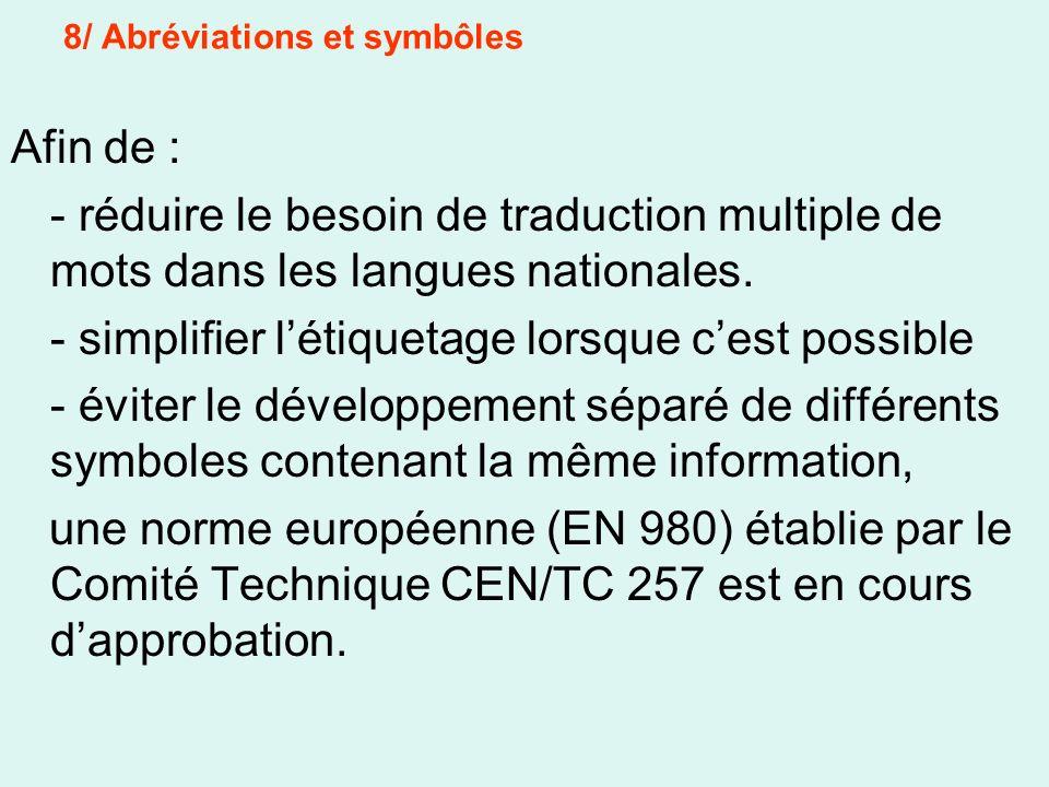 Afin de : - réduire le besoin de traduction multiple de mots dans les langues nationales. - simplifier létiquetage lorsque cest possible - éviter le d