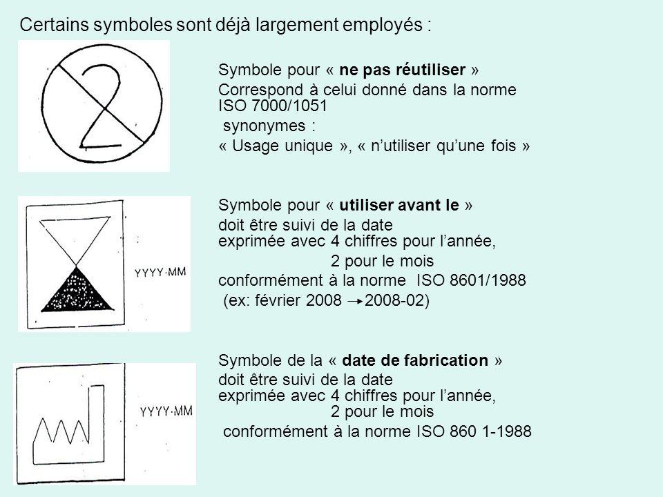 Certains symboles sont déjà largement employés : Symbole pour « ne pas réutiliser » Correspond à celui donné dans la norme ISO 7000/1051 synonymes : «