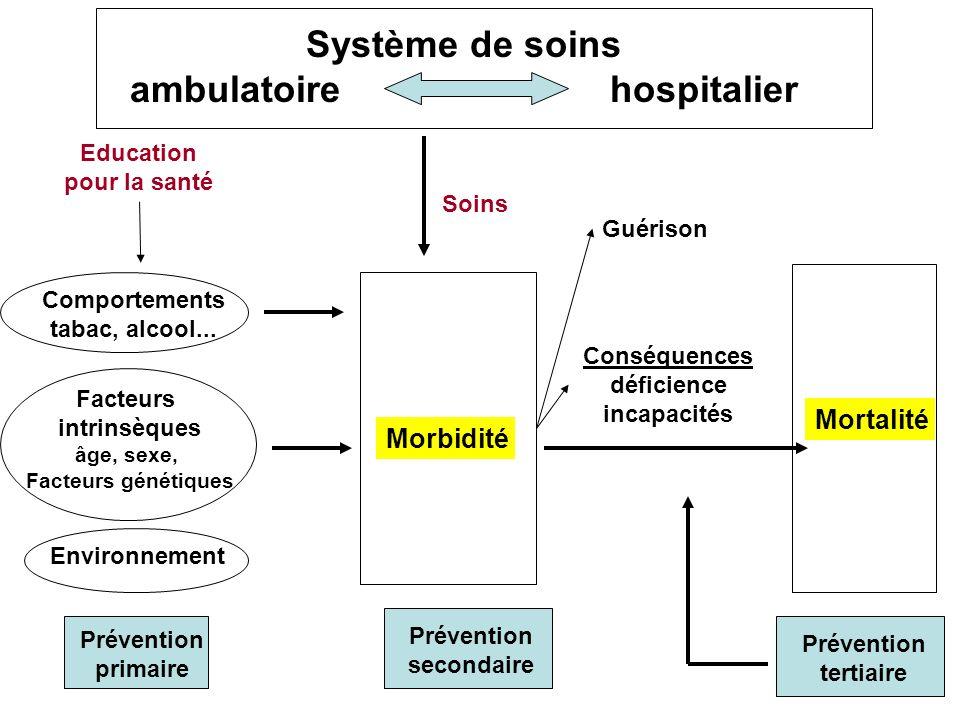 Système de soins ambulatoire hospitalier Education pour la santé Soins Comportements tabac, alcool... Facteurs intrinsèques âge, sexe, Facteurs généti