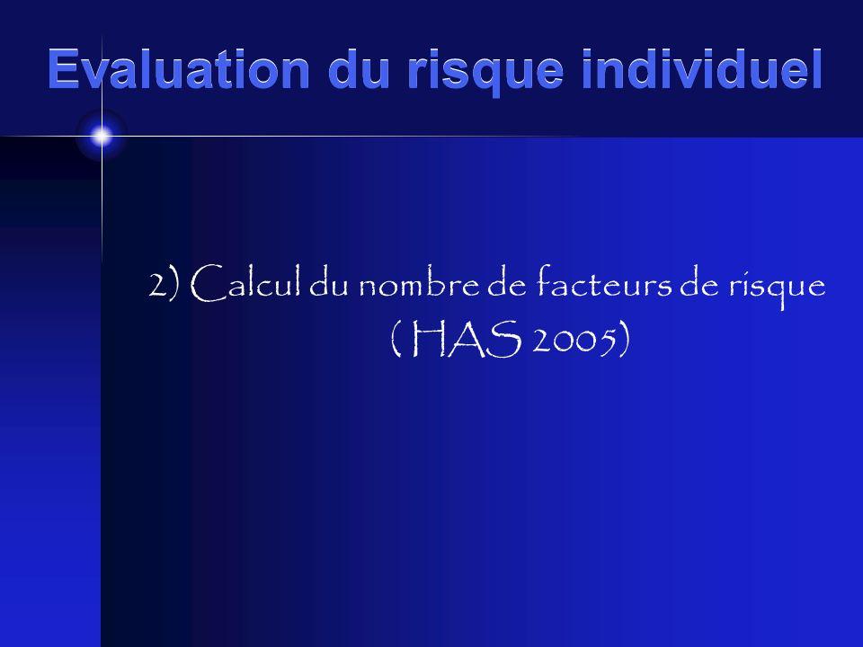 Evaluation du risque individuel 2) Calcul du nombre de facteurs de risque ( HAS 2005)