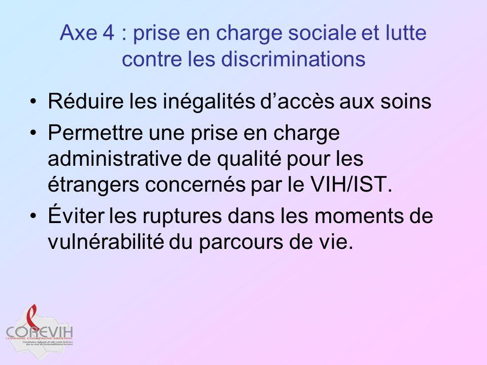 Axe 4 : prise en charge sociale et lutte contre les discriminations Réduire les inégalités daccès aux soins Permettre une prise en charge administrati