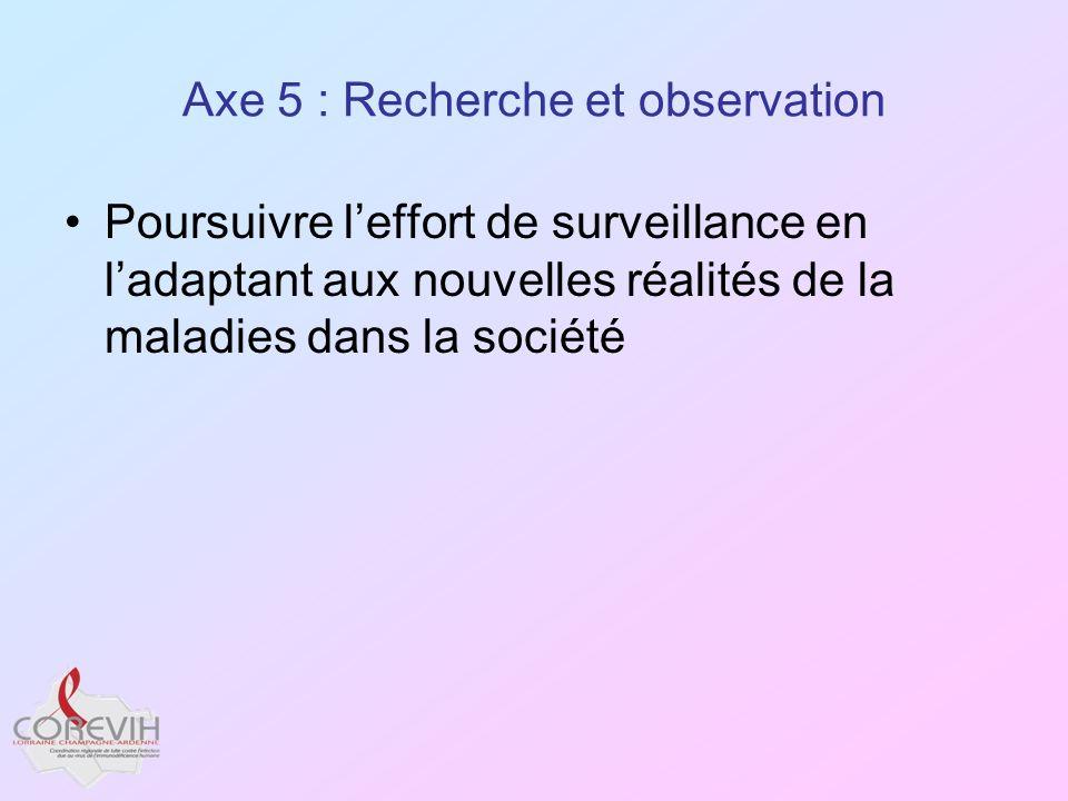 Axe 5 : Recherche et observation Poursuivre leffort de surveillance en ladaptant aux nouvelles réalités de la maladies dans la société
