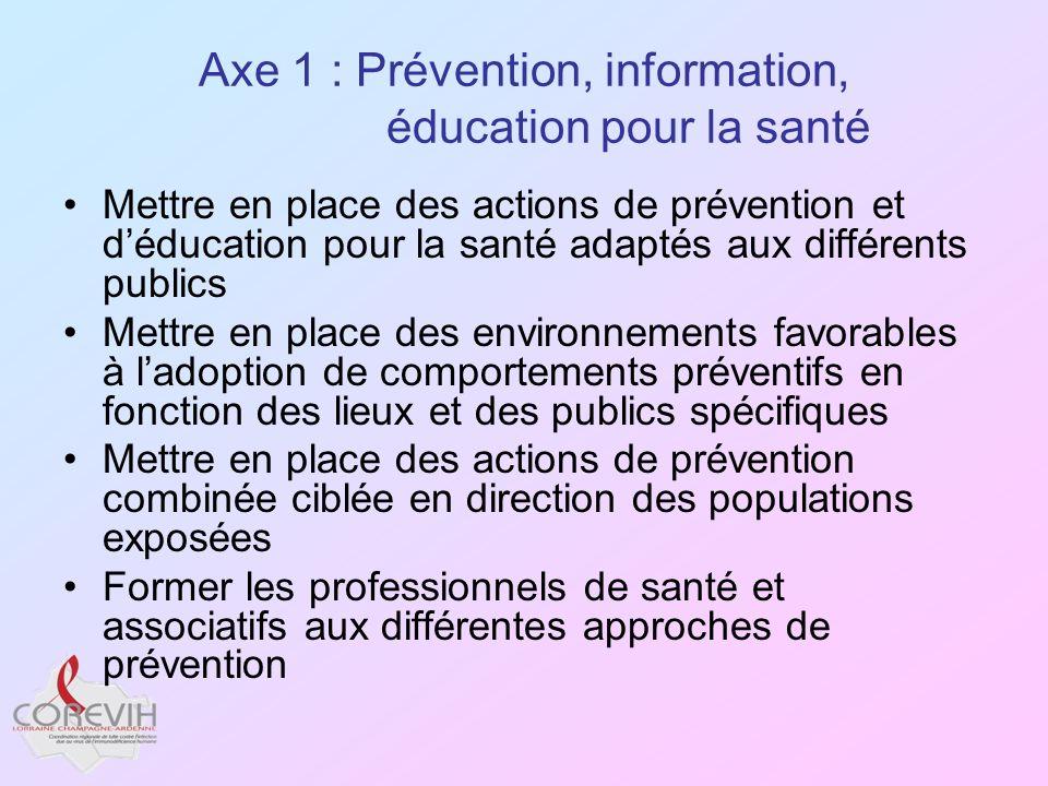 Axe 1 : Prévention, information, éducation pour la santé Mettre en place des actions de prévention et déducation pour la santé adaptés aux différents