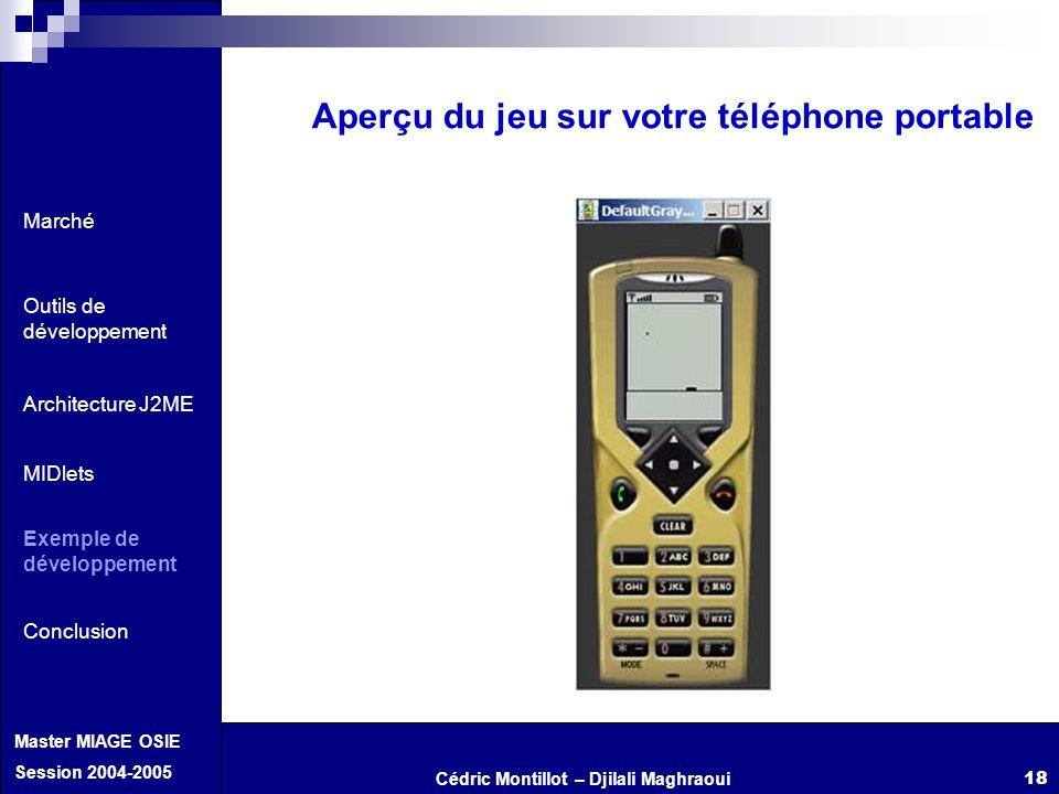 Cédric Montillot – Djilali Maghraoui Master MIAGE OSIE Session 2004-2005 18 Aperçu du jeu sur votre téléphone portable Marché Outils de développement