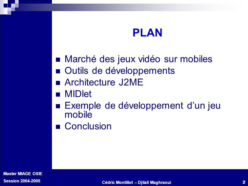 Cédric Montillot – Djilali Maghraoui Master MIAGE OSIE Session 2004-2005 2 PLAN Marché des jeux vidéo sur mobiles Outils de développements Architectur