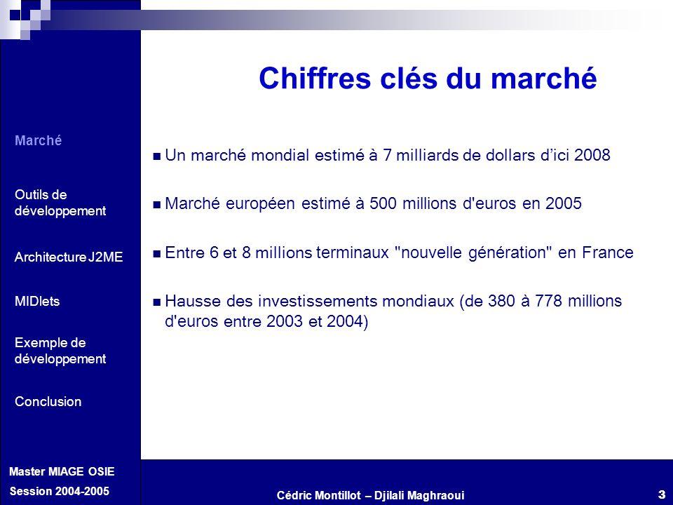 Cédric Montillot – Djilali Maghraoui Master MIAGE OSIE Session 2004-2005 3 Chiffres clés du marché U n marché mondial estimé à 7 milliards de dollars